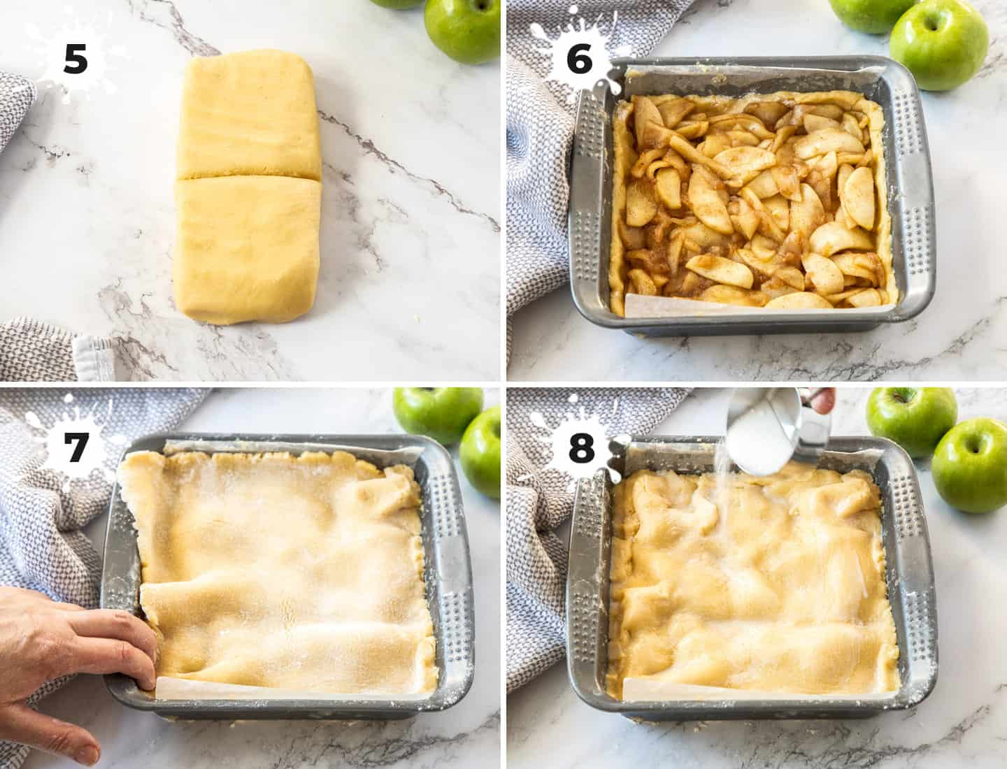 A collage of 4 images showing how to assemble the apple shortcake.