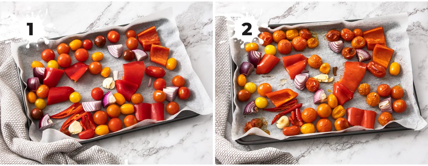 A collage of 2 images showing how to make tomato salsa.