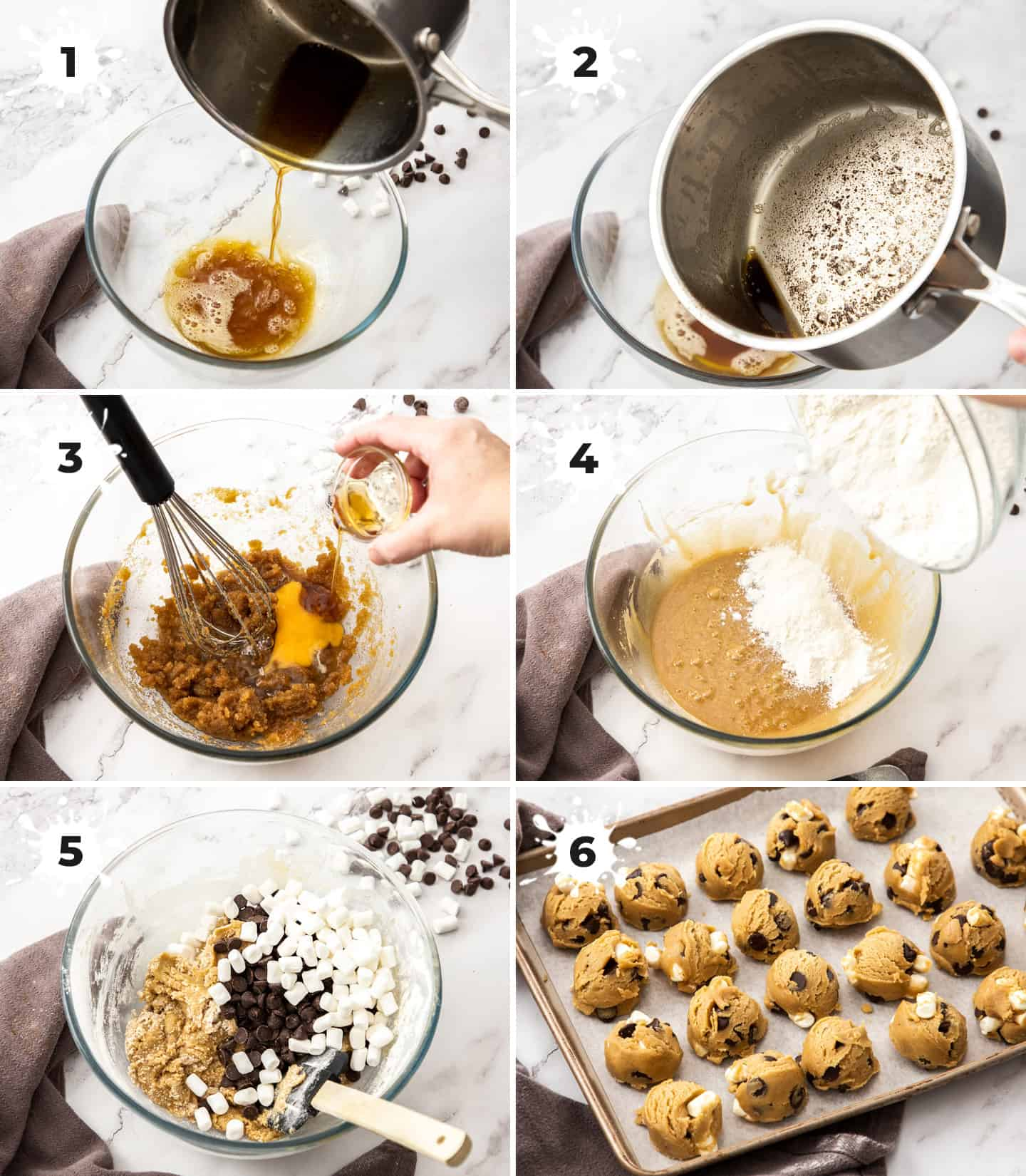 A collage of 6 images showing how to make the cookies.