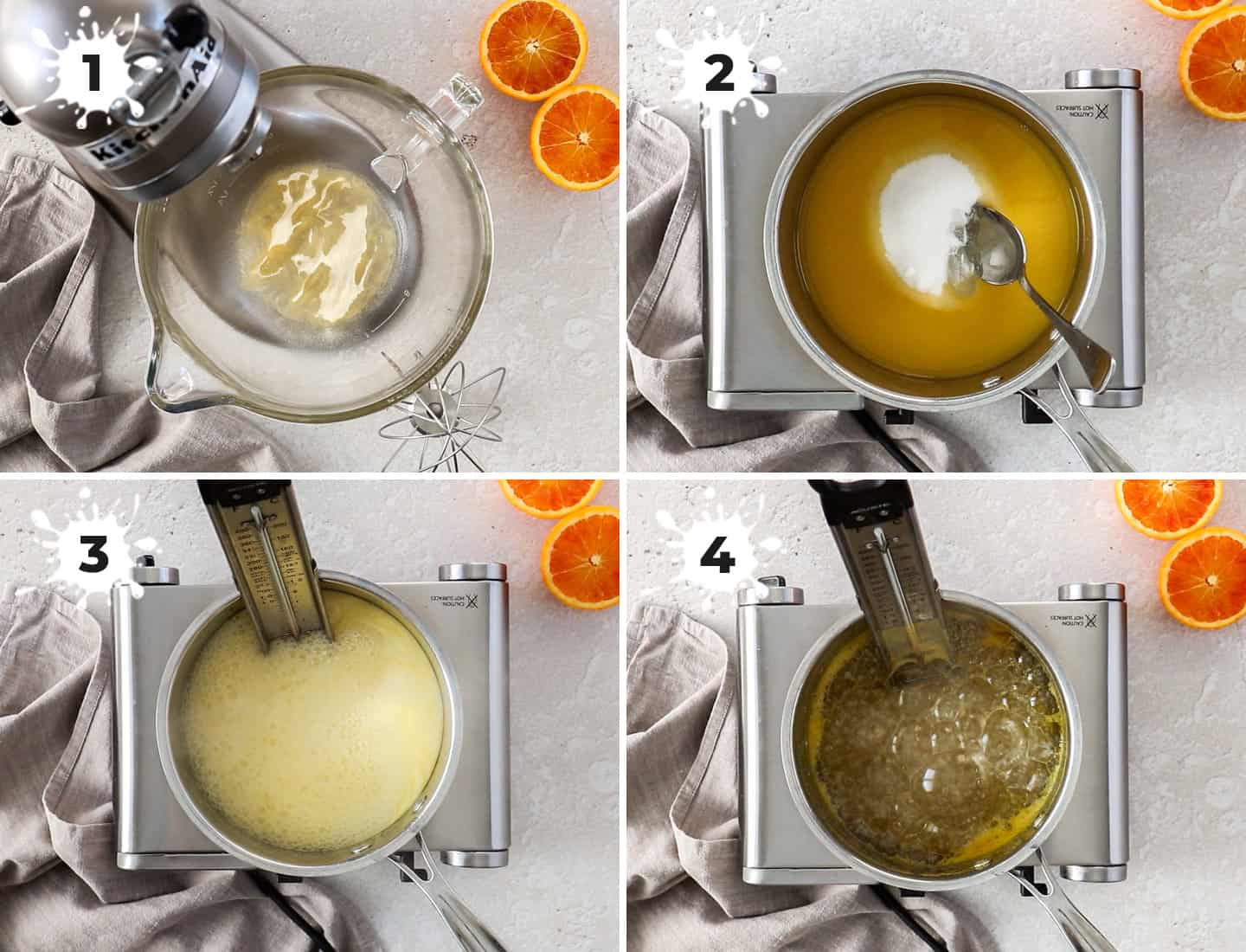 A collage of 4 images showing how to make the syrup for the marshmallows.