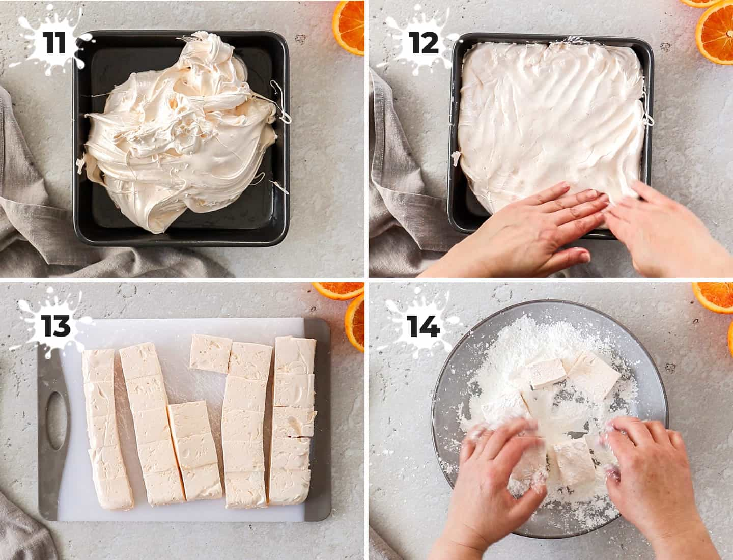 A collage of 4 images showing how to set and finish the marshmallows.