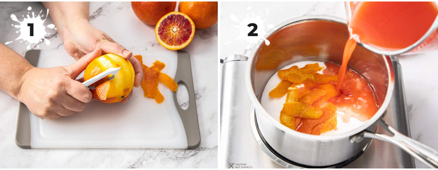 Images showing how to make orange simple syrup.