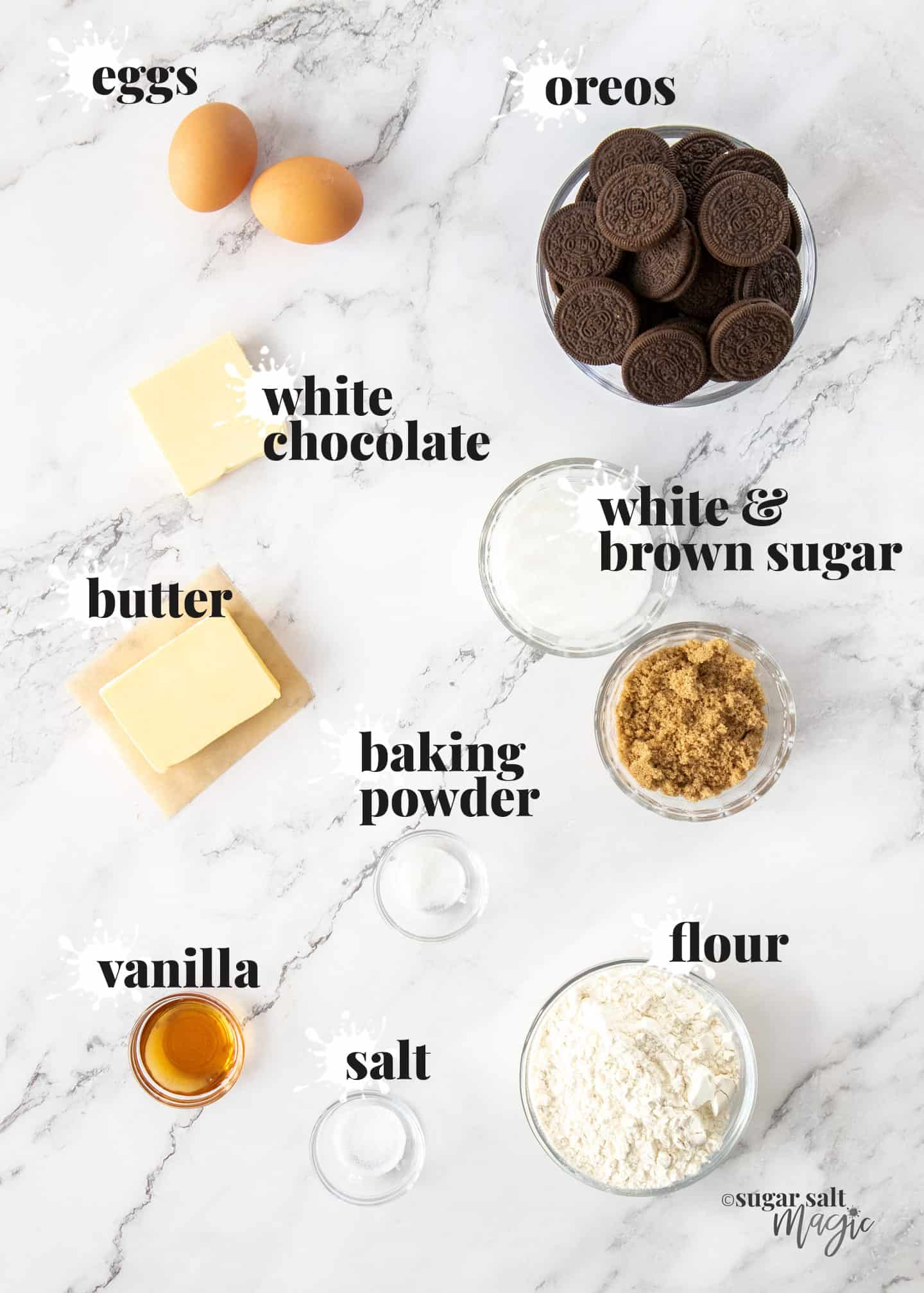 Ingredients for Oreo blondies on a white marble surface.