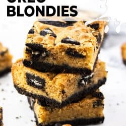 A stack of 3 Oreo blondies.