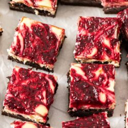 Top down view of raspberry topped brownies.