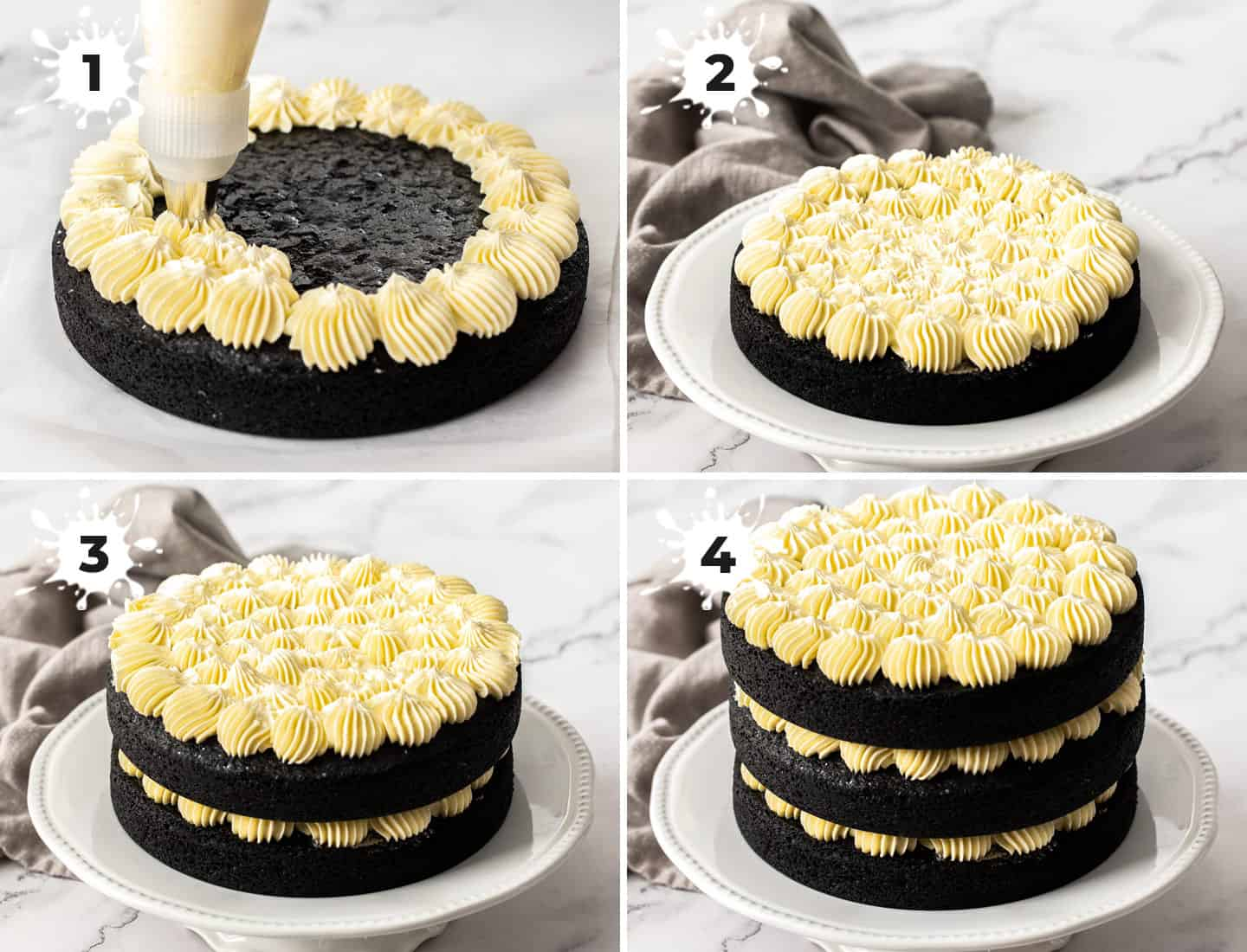 A collage of 4 images showing how to assemble the cake.