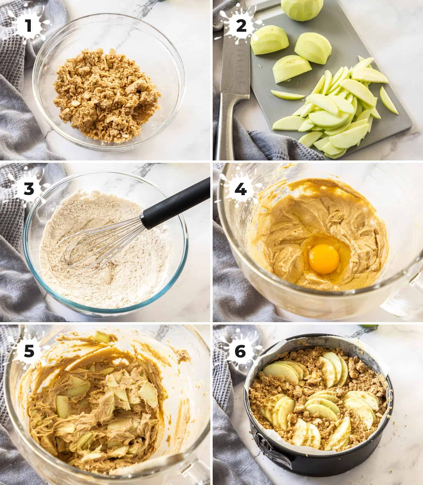 A collage of 6 images showing how to make the cake.