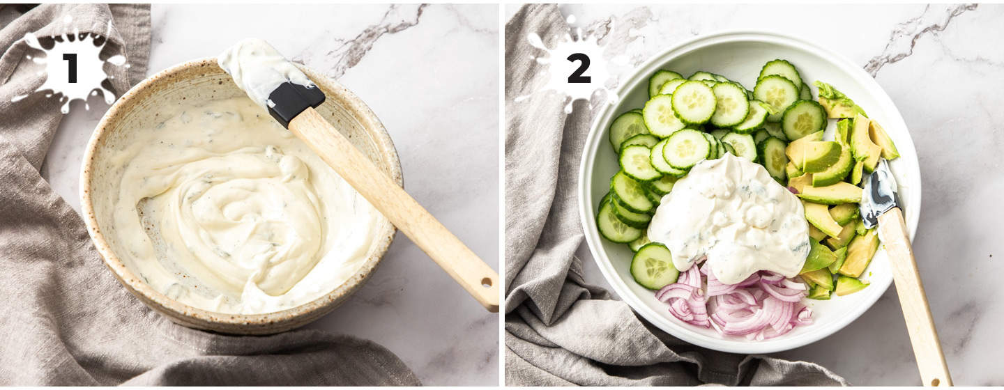 A collage of 2 images showing how to make creamy cucumber salad.