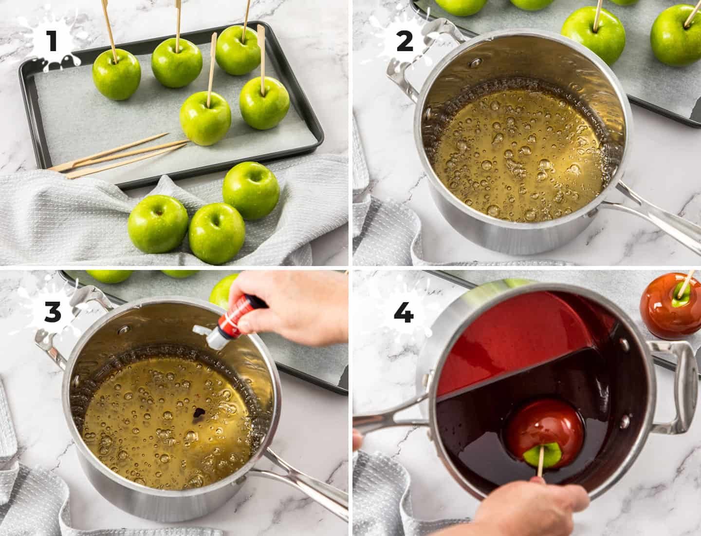 A collage of 4 images showing how to make toffee apples.